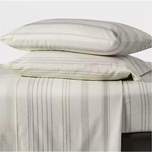 Full Printed Pattern Fall Flannel Sheet Set Gray Stripe Threshold