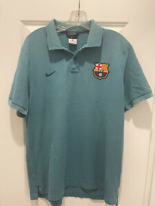 BARCELONA FC  Nike Polo Football Shirt L Mens Soccer Jersey Teal Excellent