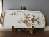 VINTAGE I W RICE PORCELAIN Vanity Tray Gold   HAND PAINTED Decorative Asian Art