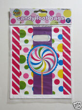 8 Candy Theme Plastic Party Loot Treat Gift Goody Favor Bag Kid Supply