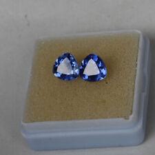 Loose Natural Blue Sapphire Pair 3.20 Ct Trillion Cut Kashmir Certified Gemstone