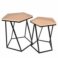 Piccolo Homfa Set di 2 Tavolini da Salotto Rotondi Tavolini da Divano Tavolini da caff/è da t/è Tavolini Bassi per Soggiorno 2 Ripiani Stile Industriale Vintage Grande 80x80x45cm 48x48x55cm