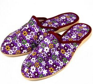 Purple Women's House Slippers Closed Toe Floral Pattern Not Slippery Made Russia