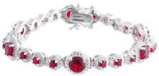 Sterling Silver 925 Womens Synthetic Ruby Stone Bracelet 9mm Wide
