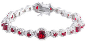 Sterling Silver 925 Womens Synthetic Ruby Stone Bracelet 9mm Wide