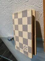 Authentic LOUIS VUITTON Damier Azur White Leather  Card Case  Pass case