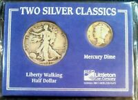 Two Silver Classics Walking Liberty Half(1947) & Mercury Dime(1942) Coin Set