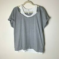 Fabletics Women's Tasha Short-Sleeve Tee Top Size XXL Gray White French Terry