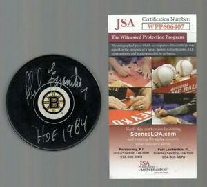 Phil Esposito Signed Autograph BRUINS LOGO Puck W/HOF 1984 - JSA WPP408407