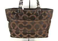 COACH Authentic Medium Monogram Shoulder Bag Brown Canvas Purse *1008