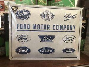 Ford Motor Company Logo Evolution Embossed German Made Sign
