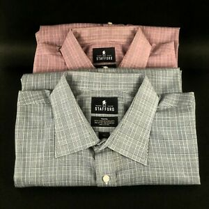Stafford Travel Easy Care Broadcloth Shirt Men 18 1/2 36-37 (2) Gray & Red Check