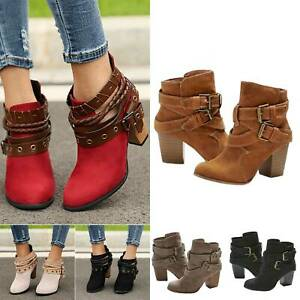 Womens Block Flat Ankle Boots Casual Zipper Pull on Low Heel Booties Shoes Size