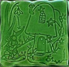 Faerie Glen design on RC tile - Moss Green,  handmade in  U.K.