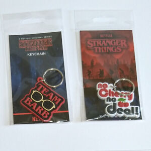Stranger Things Keychains / Keyrings x 2 Team Barb and No Cherry No Deal - New.