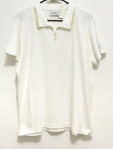Liz Golf by Liz Claiborne, Women Short Sleeve White Textured Polo Golf Shirt, XL