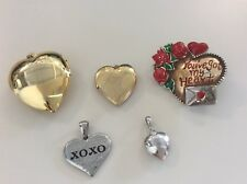 silver tone stainless steel photo B0114 5 Hearts locket pendant lot gold