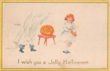 1916 Boy Sheet Ghost Jack O Lantern & Girl Jolly Halloween post card