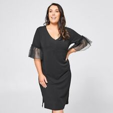 Ladies plus size 16+  BLACK Ruffle sleeve Jersey  DRESS Belle Curve NEW  $35