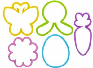 5 x Easter Kitchen Cookie Cutters - Bunny Egg Carrot Flower Butterfly Baking