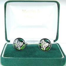 WHITE TIGER Cufflinks made from Russian coins in Black,Silver & colour