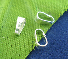 200 SILVER PLATED 8mm JEWELLERY  PINCH BAILS 6x3mm~Pendants~Charms~ (22D) UK
