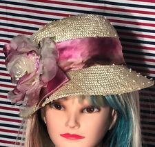 Vintage Toucan Collection New York Straw Hat Floral Arrangement
