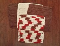 Lot of 4 New Brown/Red/White Handmade-Crocheted 100% Cotton Dish/Wash Cloth Gift