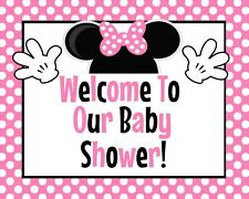 Disney Baby Minnie Mouse STAND UP 8.5 x 11 in Shower Sign in Pink.