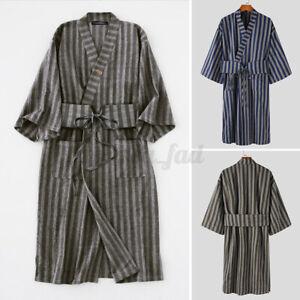 Herren Japanische orientalische Kimono Nachtwäsche Kimono Pyjama mit Gürtel DE