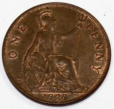 1927 Great Britain / United Kingdom One Large Cent / Penny - XF+ Extra Fine Plus