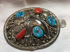 Vintage buckle, sterling silver handcrafted 3 turquoise & 2 coral stones