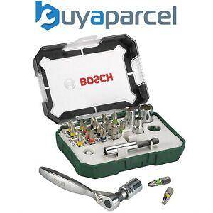 Bosch 2607017322 26 Screwdriver Bit Set & Ratchet Set Nutsetters Wrench In Case