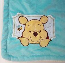 Disney Baby Winnie the Pooh Plush Baby Blanket Bee Robin's Egg Blue