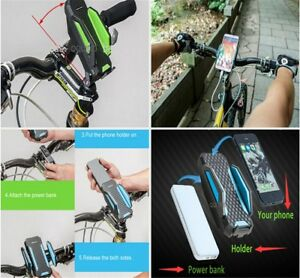 BICYCLE BIKE HOLDER Stand Mount Power Bank Battery For Smart Phone GPS iPhone