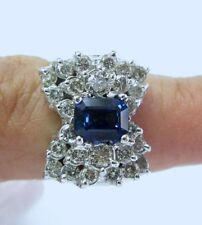 Fine Gorgeous Blue Sapphire Gem and Dimaond BOW Ring WG 18KT