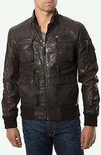 7 DIAMONDS 'DETROIT' BROWN SLIM FIT MOTORCYCLE STYLE LEATHER JACKET SIZE XL