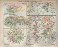 Landkarte map 1895: KARTEN ZUR GESCHICHTE DER ERDKUNDE I. Herodot Behaim Homann
