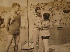 ANTIQUE FLAPPER ERA BATHING BEAUTY BOAT MUSCLE MAN BALBOA NEWPORT BEACH CA PHOTO