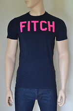 NEW Abercrombie & Fitch Kempshall Mountain Navy Pink Felt Applique Tee T-Shirt L