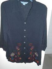 Koret Women Size L Shirt Embroidered/Bead Top Long Sleeve Black Crepe FREE SHIP!