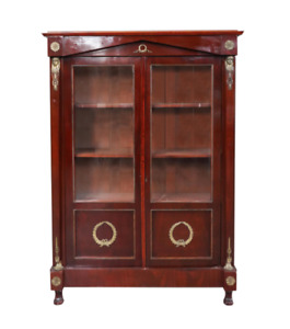 19th Century French Empire Style Bronze-Mounted Bibliotheque Cabinet