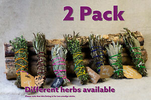 2 Pack of Smudge Sticks Handmade - Sage Rosemary Thyme  Cleansing Yorkshire UK