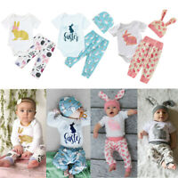 Newborn Infant Baby Girls Boys Easter Bunny Outfits Romper Tops+Floral Pants Set