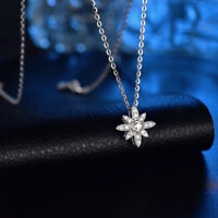 """1.18ct Round Cut Diamond Flower Pendant 18"""" Chain 18k White Gold Over Necklace"""