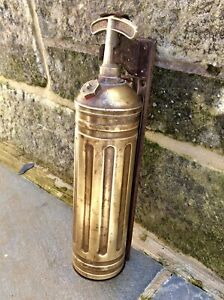Antique Vintage Pyrene Brass Fire Extinguisher,Mount Bracket,Feature Display,Old