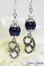 Glass Jewels Silber Ohrringe Ohrhänger Oktoberfest Brezel Perlen Blau #L088
