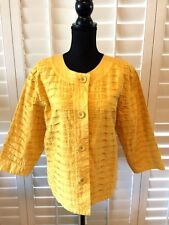 CHICO'S JACKET SIZE 3 YELLOW 100% COTTON BUTTON FRONT CLOSURE COLLARLESS NWT