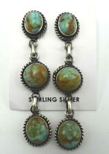 Post Earrings - Marie Bahe Navajo Handmade Sterling Silver Kingman Turquoise
