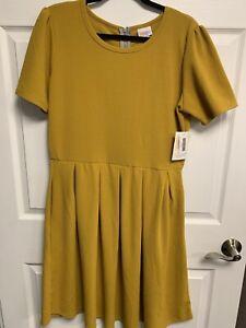 LuLaRoe 2XL Amelia Mustard Golden Yellow Slightly Textured NWT